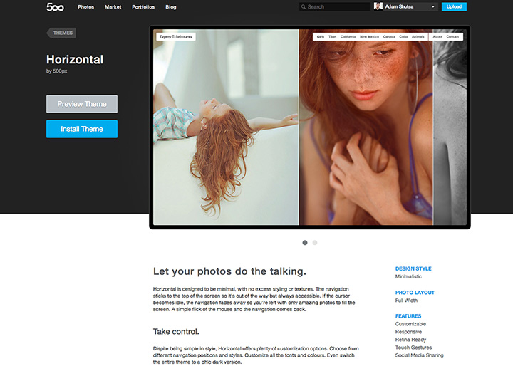 500px Portfolios - Theme Overview